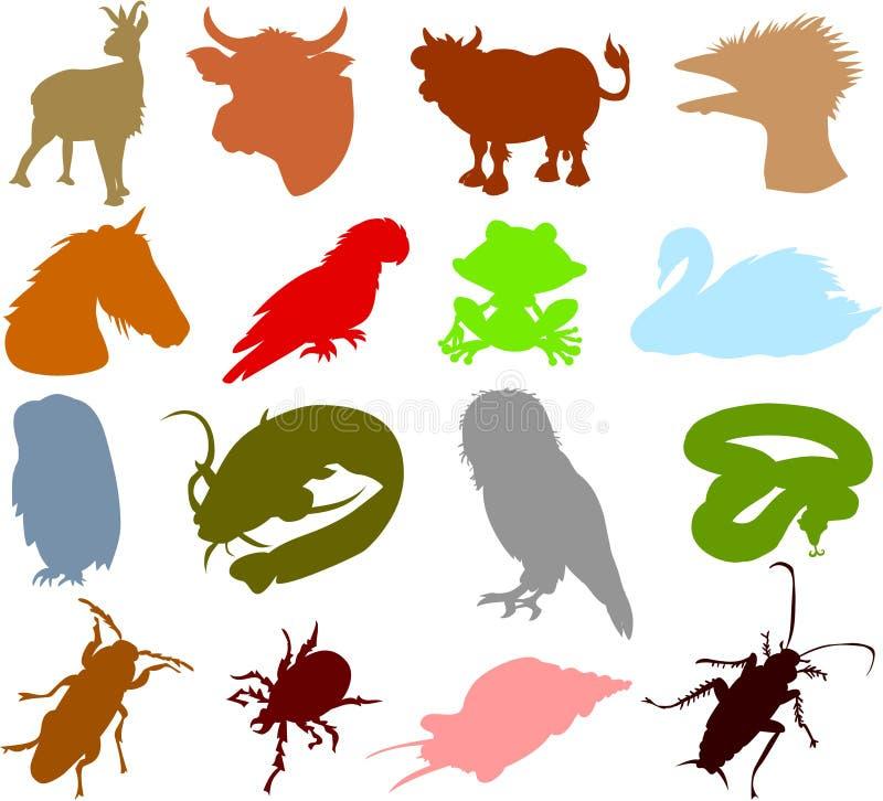 Silhuetas 04 do animal ilustração do vetor