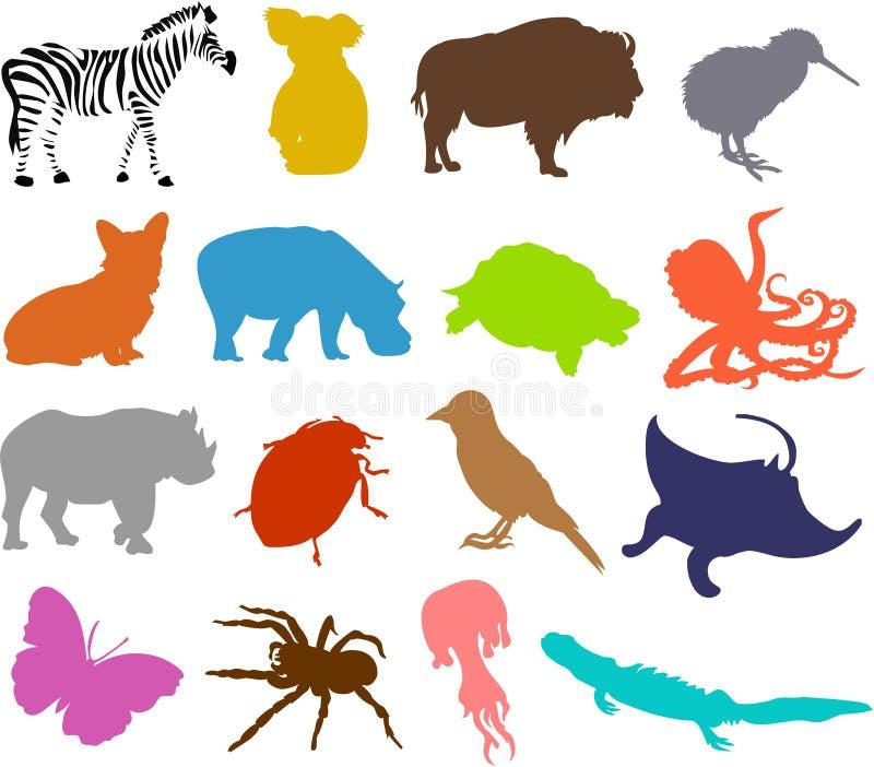 Silhuetas 05 do animal ilustração stock