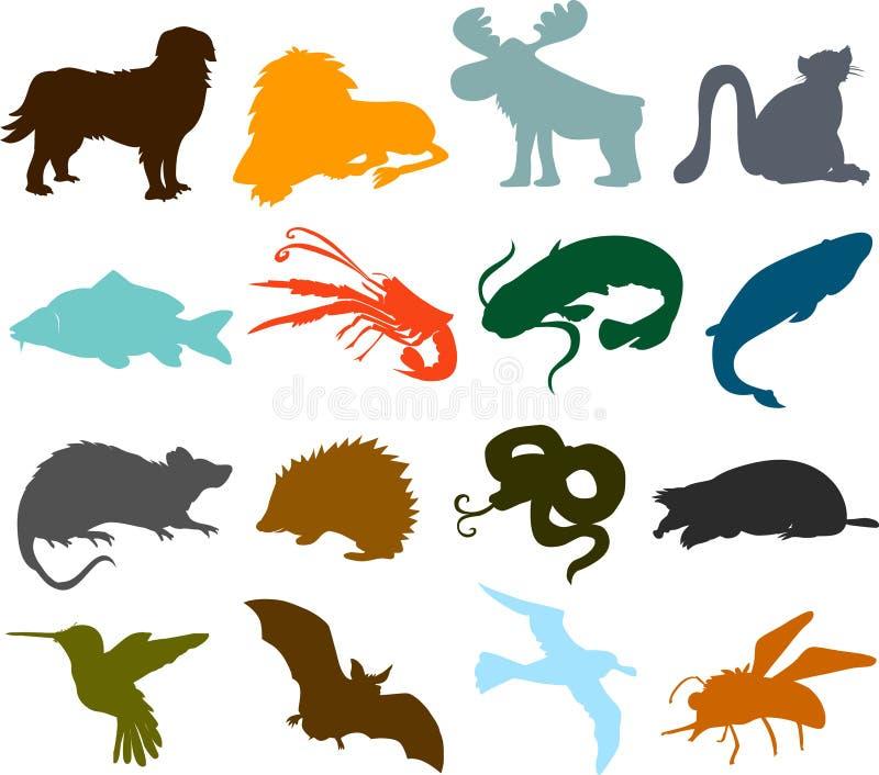 Silhuetas animais ilustração do vetor