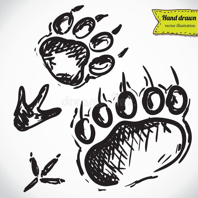 Silhuetas animais das pegadas ilustração do vetor