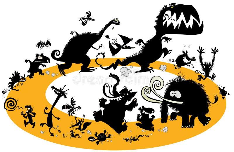 Silhuetas animais running no ciclo ilustração do vetor