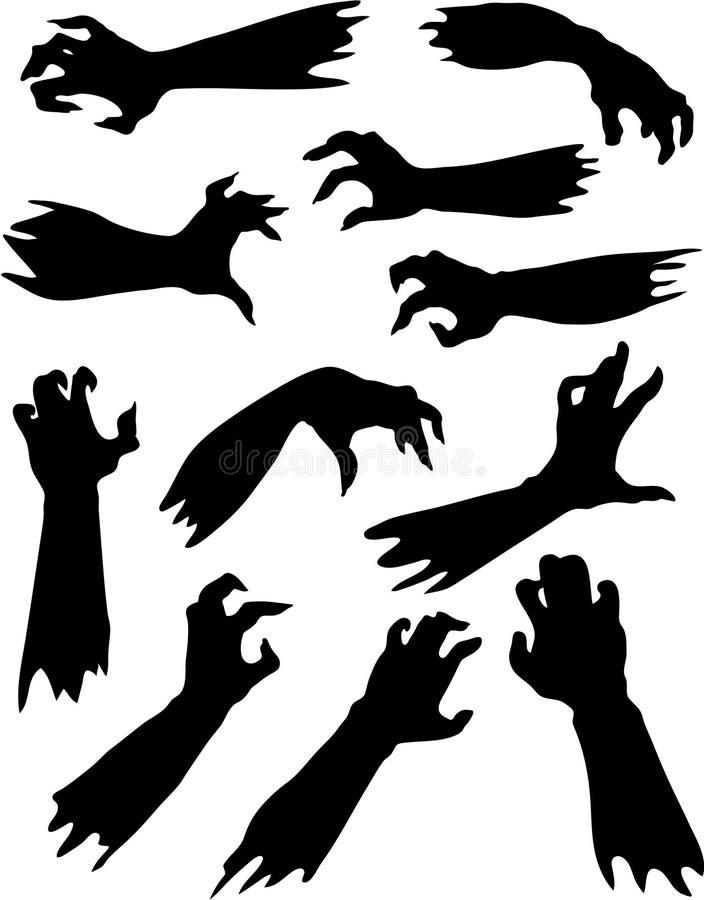 Silhuetas assustadores das mãos do zombi ajustadas. ilustração stock