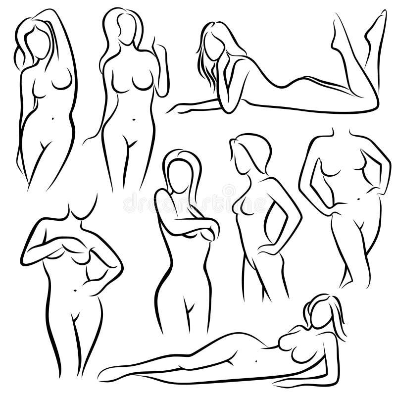 Silhuetas bonitas do vetor da mulher do esboço Linha símbolos da beleza do corpo fêmea ilustração stock
