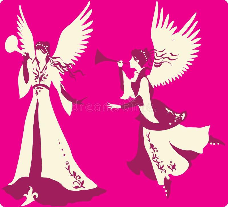 Silhuetas bonitas dos anjos ajustadas ilustração royalty free