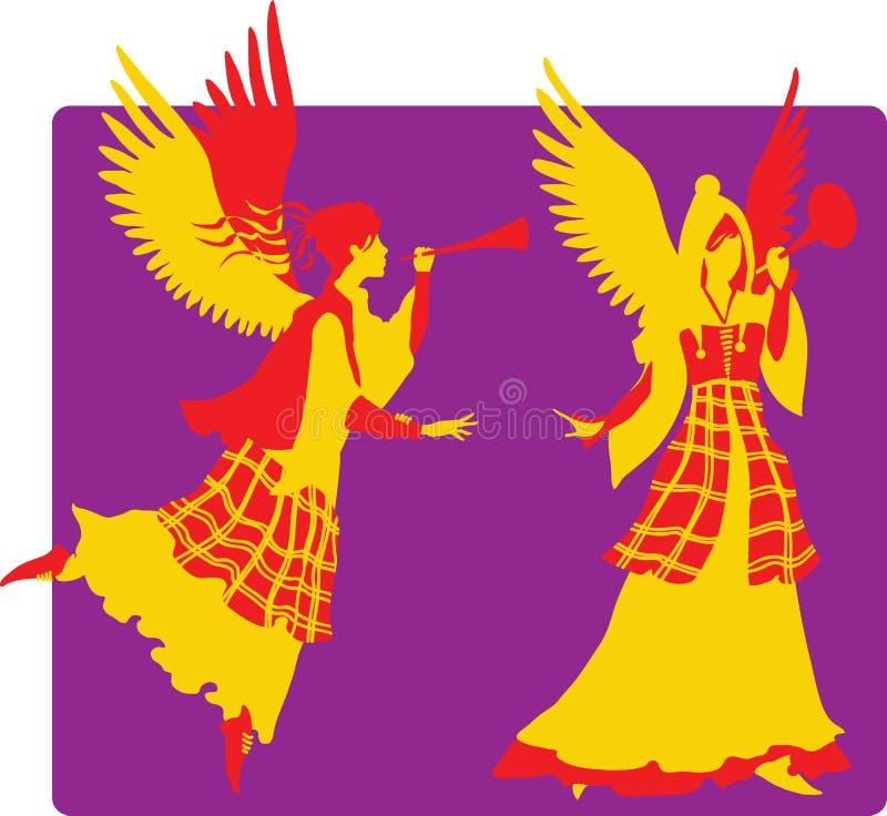 Silhuetas bonitas dos anjos ajustadas ilustração stock