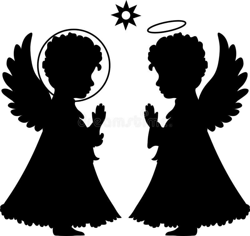 Silhuetas bonitos dos anjos ajustadas ilustração royalty free