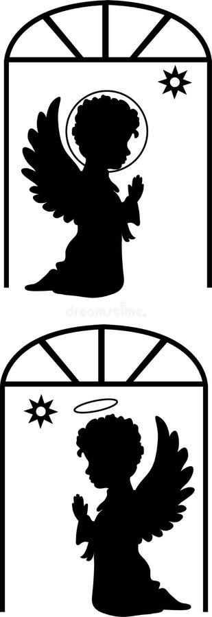 Silhuetas bonitos dos anjos ajustadas ilustração stock