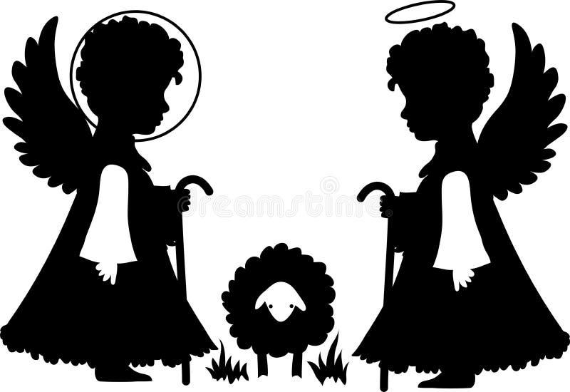 Silhuetas bonitos dos anjos ajustadas ilustração do vetor
