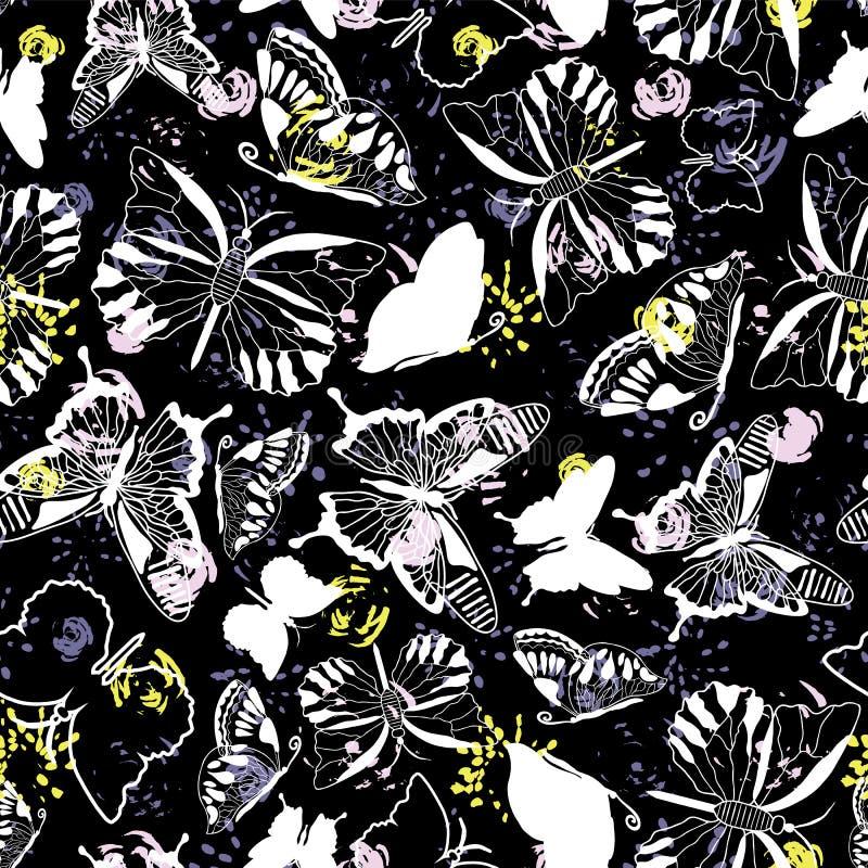 Silhuetas brancas elegantes modernas da borboleta no fundo floral abstrato escuro Teste padrão sem emenda do vetor ilustração royalty free