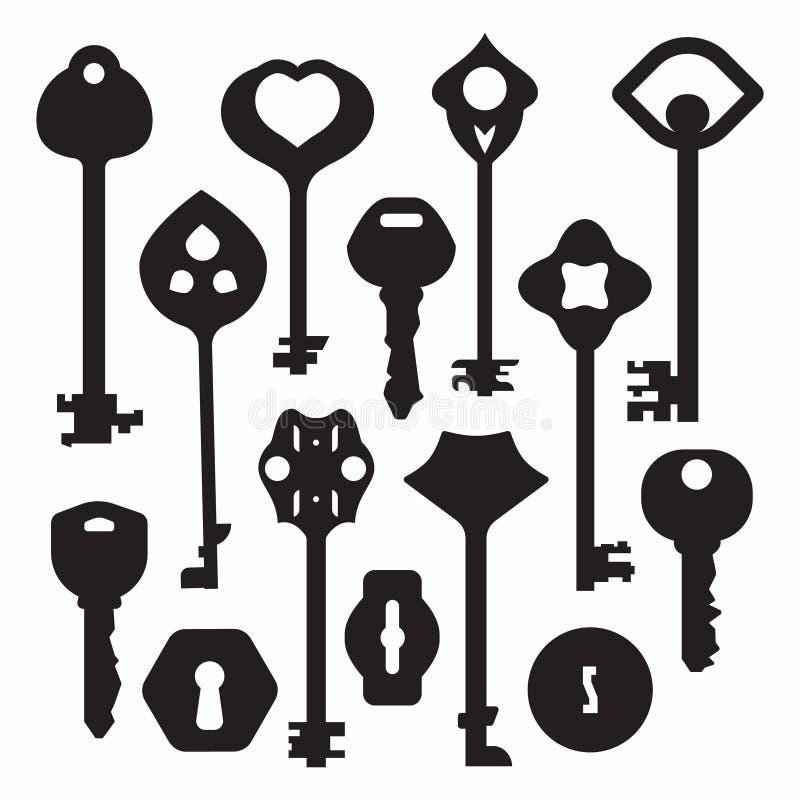 Silhuetas chaves ajustadas ilustração royalty free