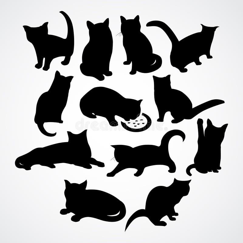 Silhuetas claras para gatos e gatinhos ilustração stock