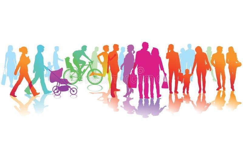Silhuetas coloridas de povos moventes ilustração stock