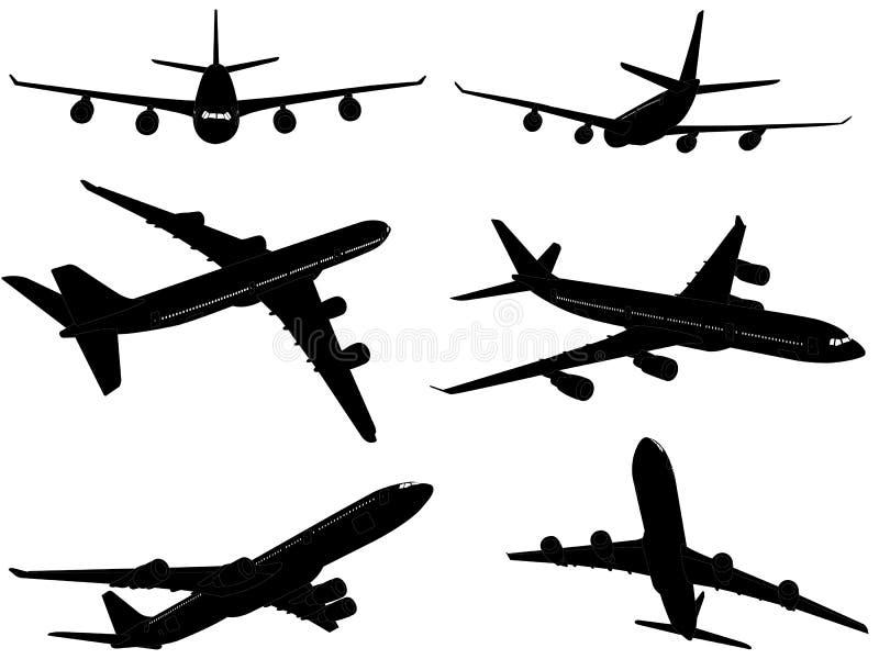 Silhuetas comerciais grandes dos aviões ilustração royalty free
