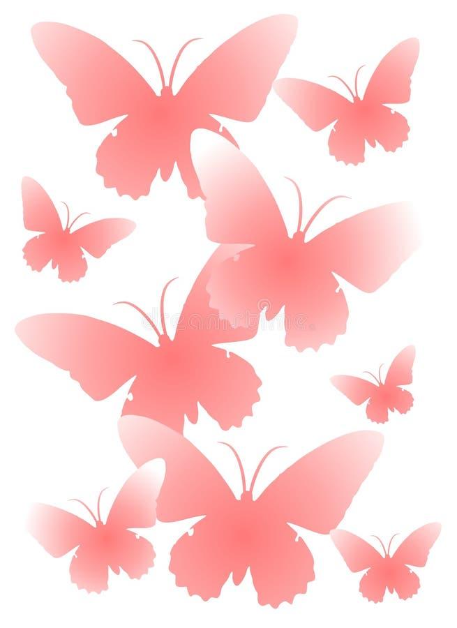 Silhuetas cor-de-rosa da borboleta ilustração do vetor