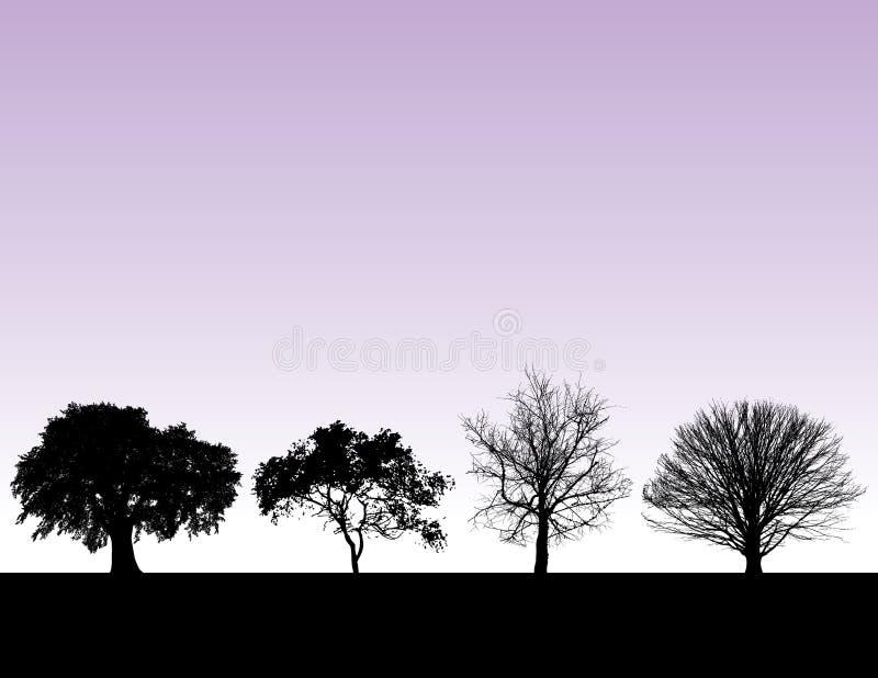 Silhuetas da árvore ilustração stock