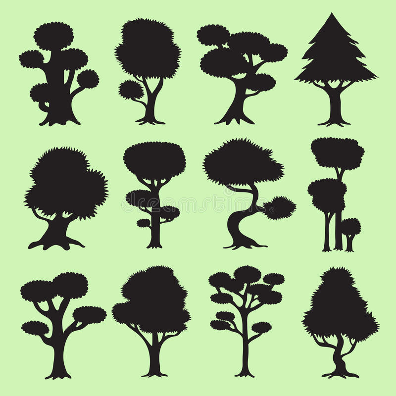 Silhuetas da árvore ajustadas ilustração do vetor