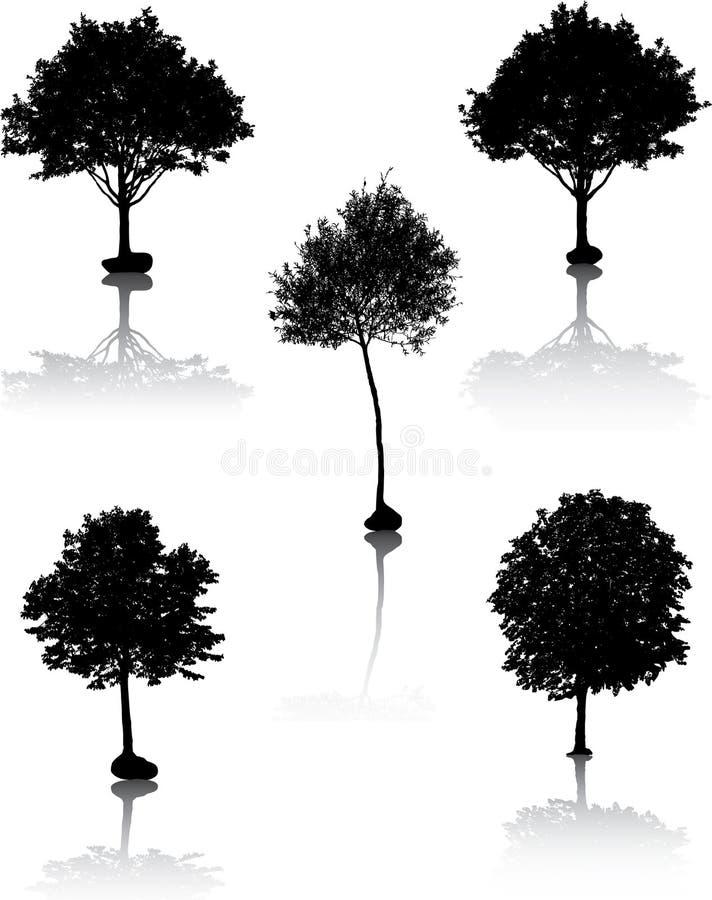 Silhuetas da árvore. [Vetor]. ilustração stock