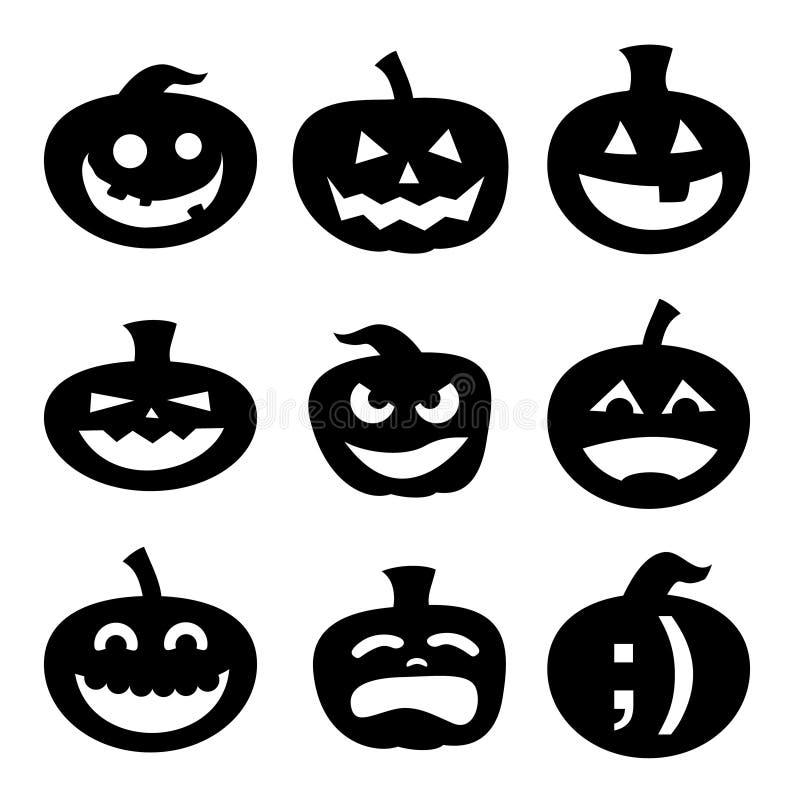 Silhuetas da abóbora de Halloween ilustração stock