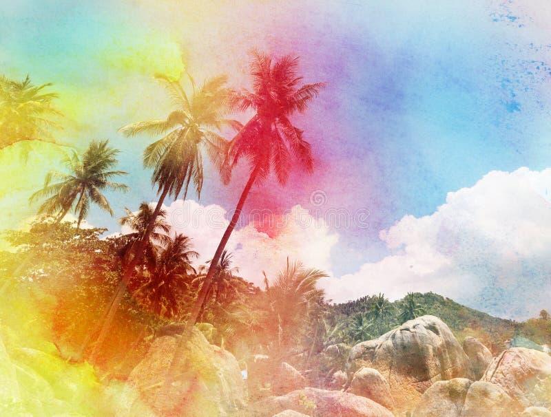 Silhuetas da aquarela das palmeiras ilustração do vetor