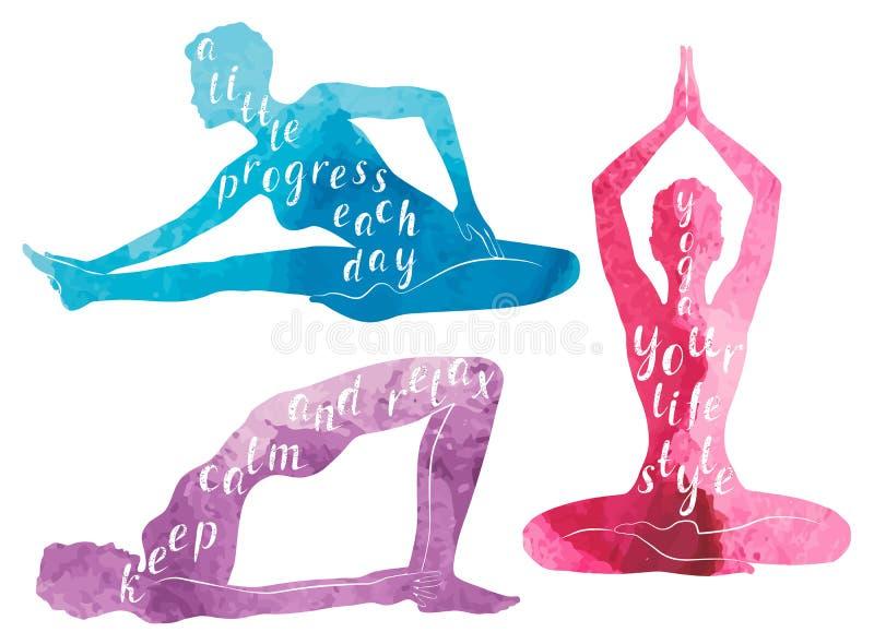 Silhuetas da aquarela da ioga, do abrandamento e da meditação praticando da mulher ilustração royalty free