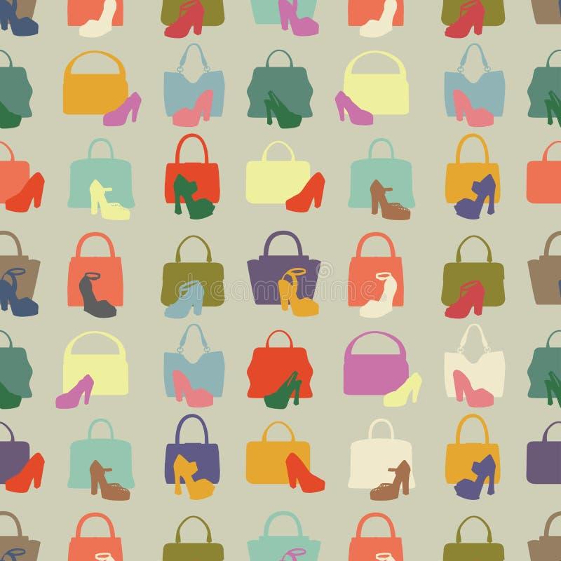 Silhuetas da bolsa, sapatas Teste padrão sem emenda ilustração royalty free