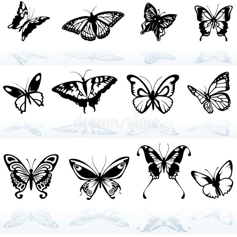 Silhuetas da borboleta ilustração stock