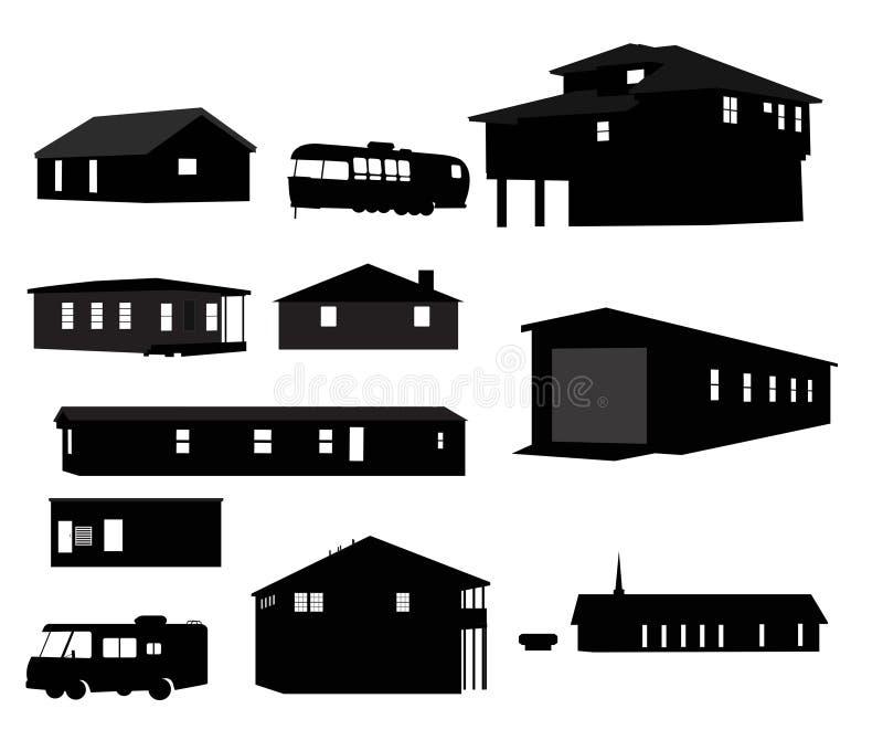 Silhuetas da casa ilustração stock