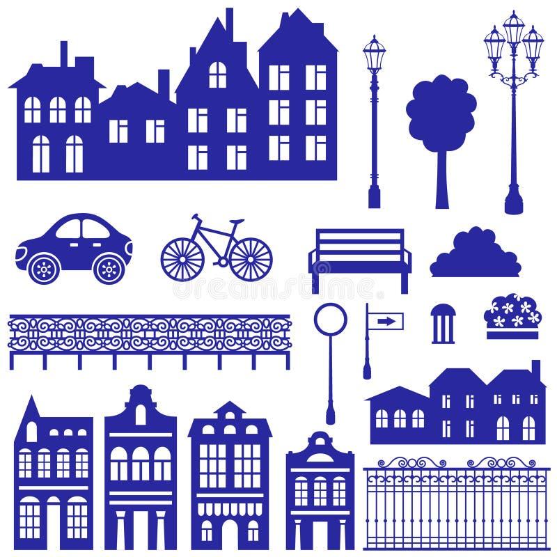 Silhuetas da cidade ajustadas ilustração stock