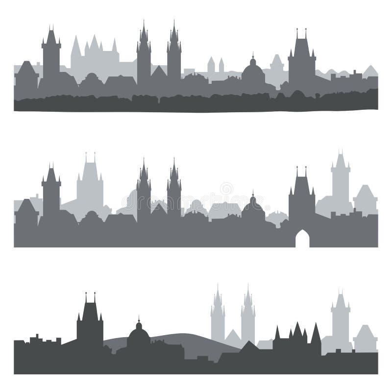 Silhuetas da cidade velha de Praga Grupo de skylines da cidade em cores escuras ilustração do vetor