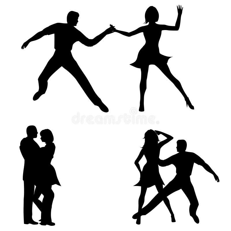 Silhuetas da dança da mulher do homem ilustração stock