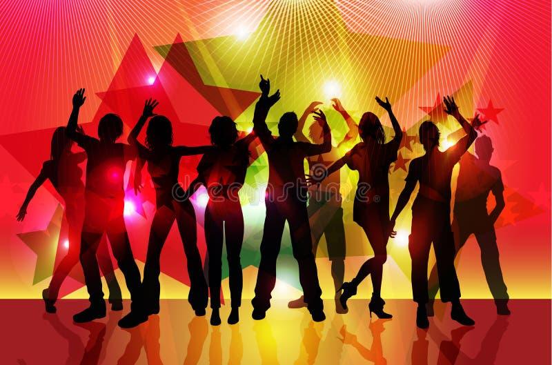 Silhuetas da dança dos povos do partido ilustração stock
