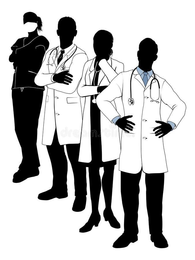 Silhuetas da equipa médica ilustração royalty free