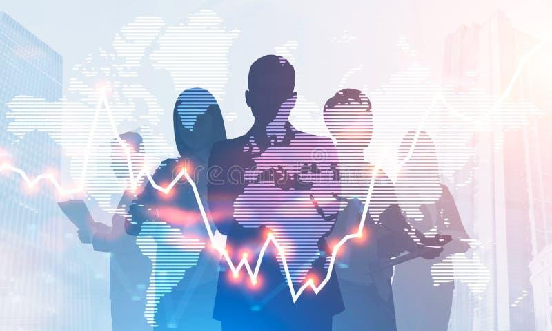 Silhuetas da equipe do negócio, gráfico no mundo global ilustração stock