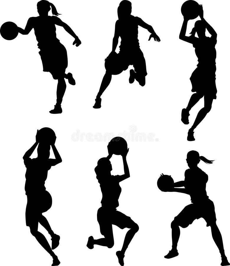 Silhuetas da fêmea do basquetebol ilustração do vetor