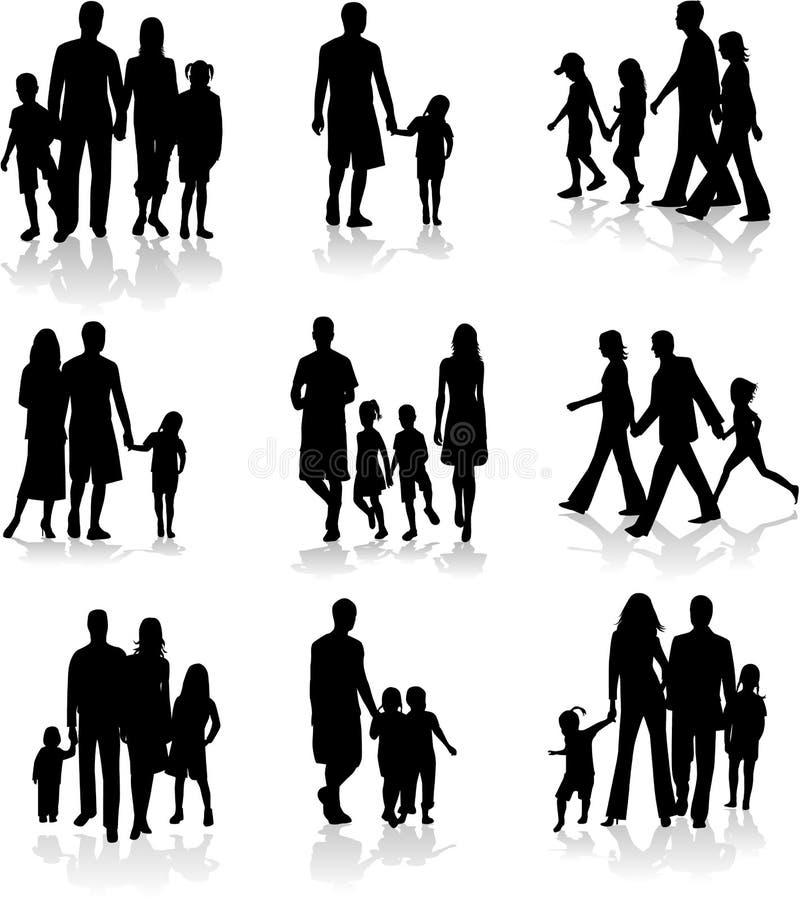 Silhuetas da família ilustração stock