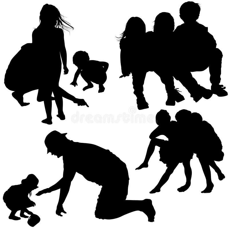 Silhuetas da família ilustração royalty free