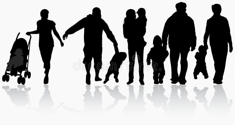 Silhuetas da família ilustração do vetor
