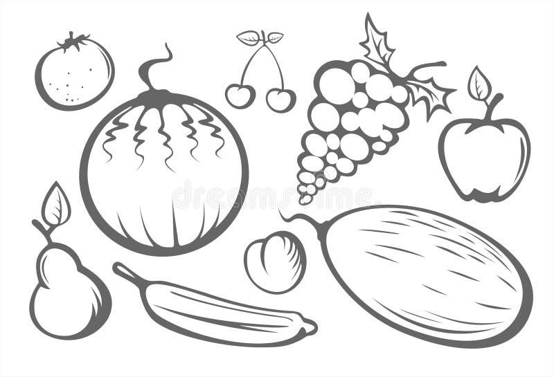 Silhuetas da fruta ilustração royalty free