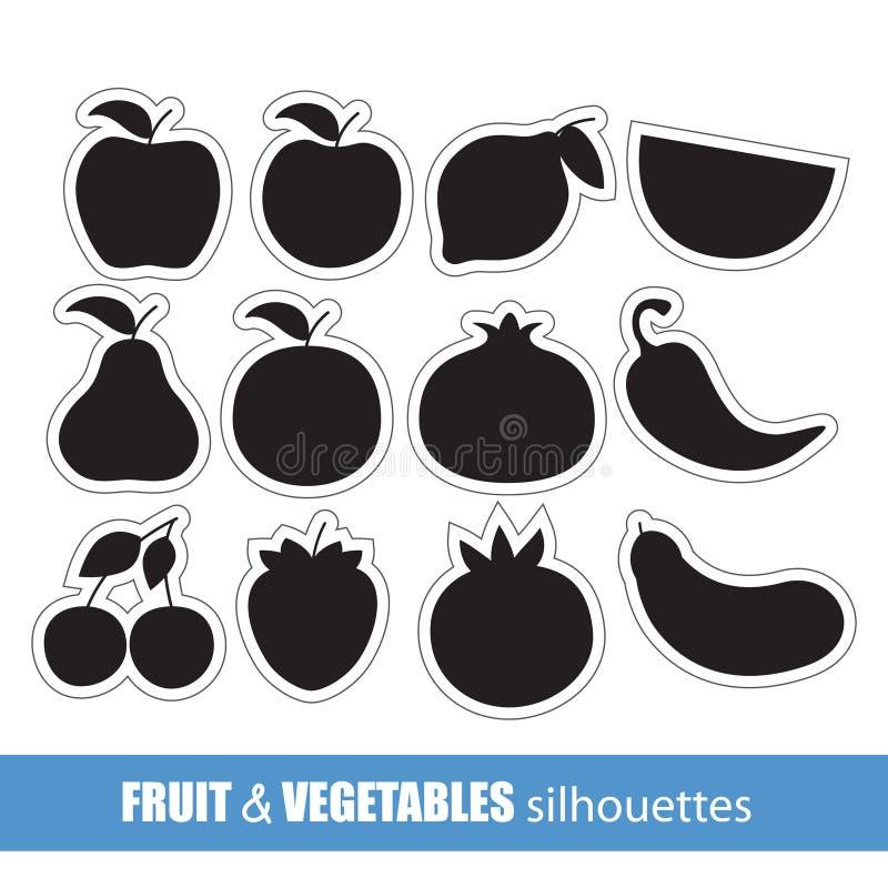 Silhuetas da fruta e verdura ilustração royalty free