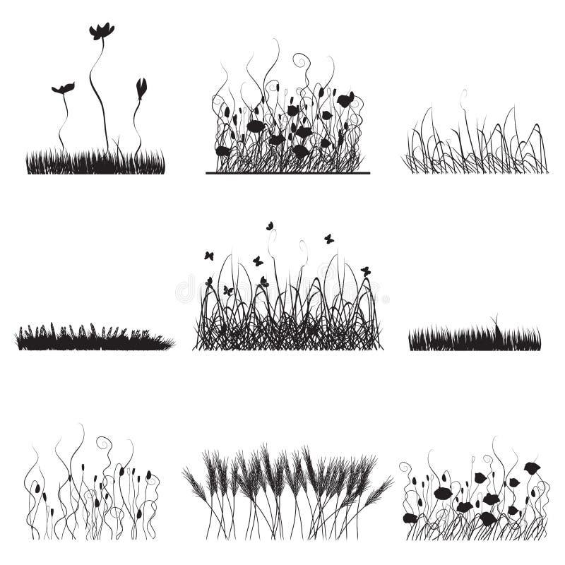Silhuetas da grama, flores   ilustração stock