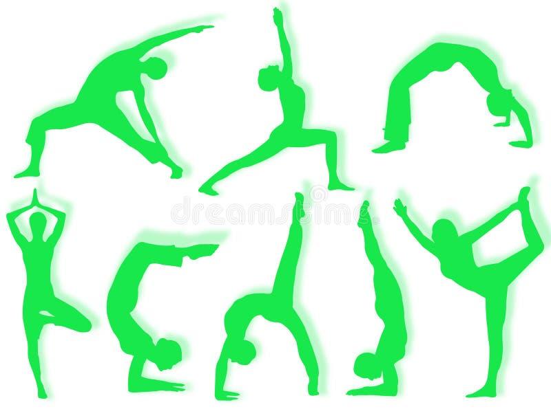 Silhuetas da ioga foto de stock