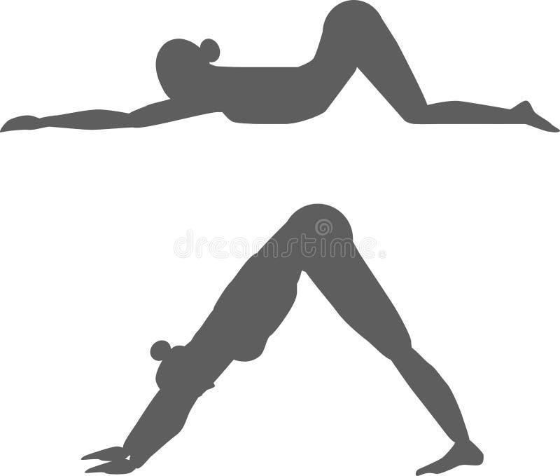Silhuetas da ioga do vetor ilustração royalty free