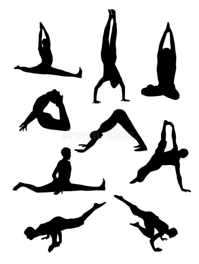 Silhuetas da ioga praticando da menina magro que estica exercícios ilustração do vetor