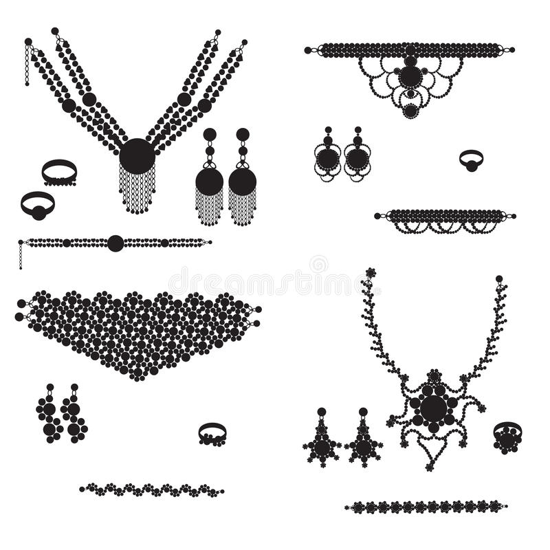 Silhuetas da jóia ilustração stock