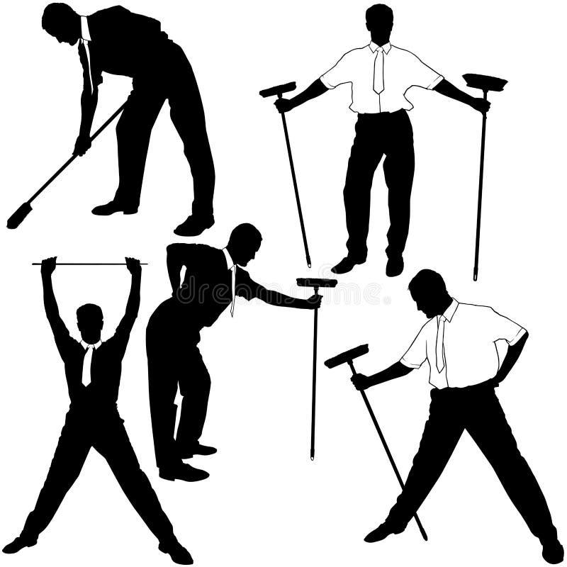 Silhuetas da limpeza do negócio ilustração stock