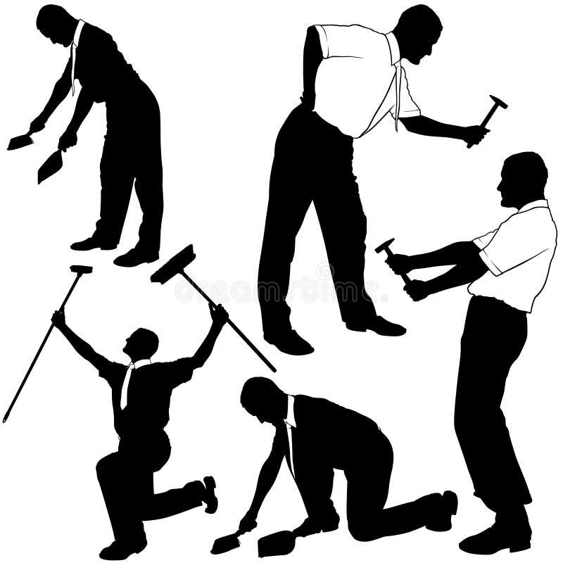 Silhuetas da limpeza e do reparo do negócio ilustração royalty free
