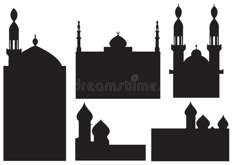 Silhuetas da mesquita ilustração royalty free