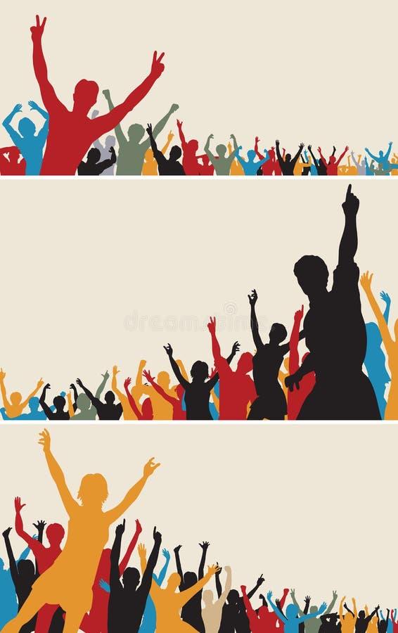 Silhuetas da multidão da cor ilustração stock