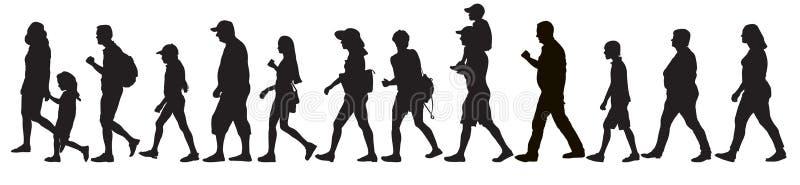 Silhuetas da multidão móvel dos povos, isoladas Ajuste, ilustração do vetor ilustração royalty free