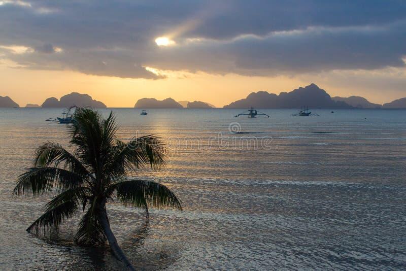 Silhuetas da palmeira e dos barcos no fundo brilhante do céu do por do sol Por do sol cênico na praia tropical com as montanhas n imagens de stock